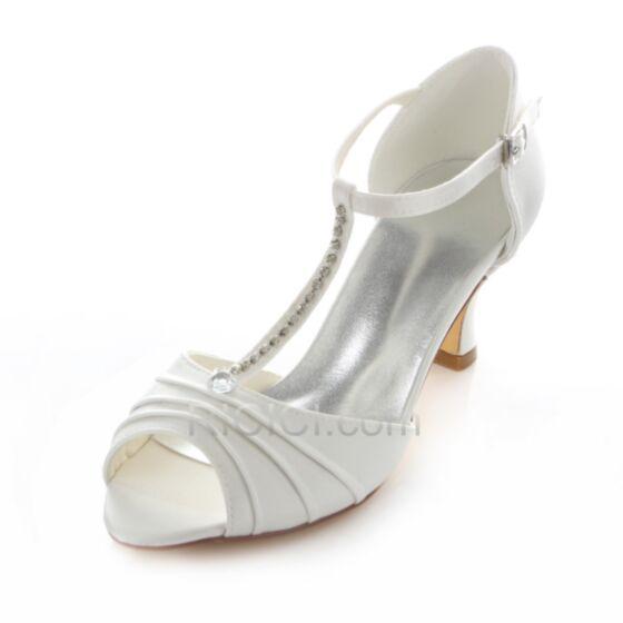 Talons Bout Ouvert Chaussure Femme Mariée Demoiselle D'honneur Satin Aiguilles Strass Mary Jane T Sangle Talon Mid Blanche 5 cm / 2 inch