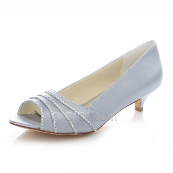 4 cm Talons Aiguilles Peep Toe Petit Escarpins Mariée Demoiselle D'honneur Chaussure Satin