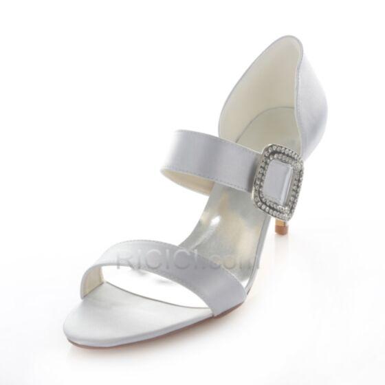 Aiguilles Satin Strass Sandales Mariée Demoiselle D'honneur Chaussure Argenté 8 cm / 3 inch Talons Hauts Peep Toe D'été