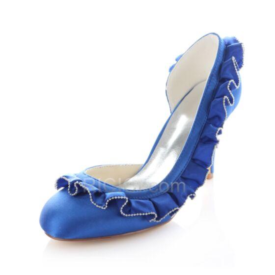 Bleu Roi Talons Hauts Chaussure Femme Mariée Demoiselle D'honneur Escarpins Printemps D'été Volantée D orsay 8 cm / 3 inch Aiguilles Satin