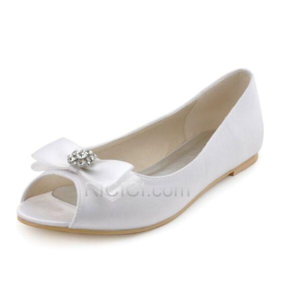 Satin Bout Ouvert Noeud Printemps D'automne Chaussure Mariée Demoiselle D'honneur Escarpins Femmes Plate Blanche