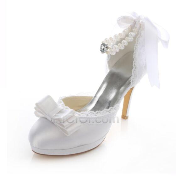 Printemps D'été Talons Chaussure Mariée Demoiselle D'honneur Sandales En Dentelle Perle Mary Jane Satin Aiguilles Pointu Pumps