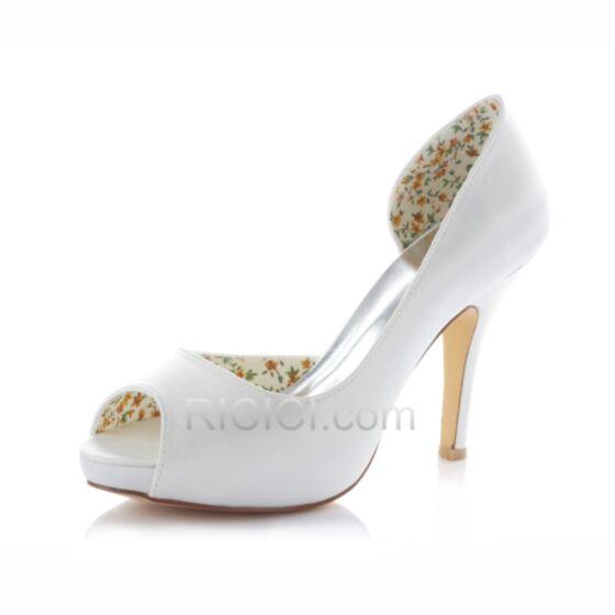 Sandales Demoiselle D'honneur Mariée Chaussure D'été Haut 10 cm / 4 inch Blanche Satin Peep Toe Aiguilles D orsay Talons