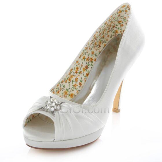 Strass Chaussure Demoiselle D'honneur Mariée Escarpins Aiguilles Bout Ouvert Satin 10 cm / 4 inch Talons