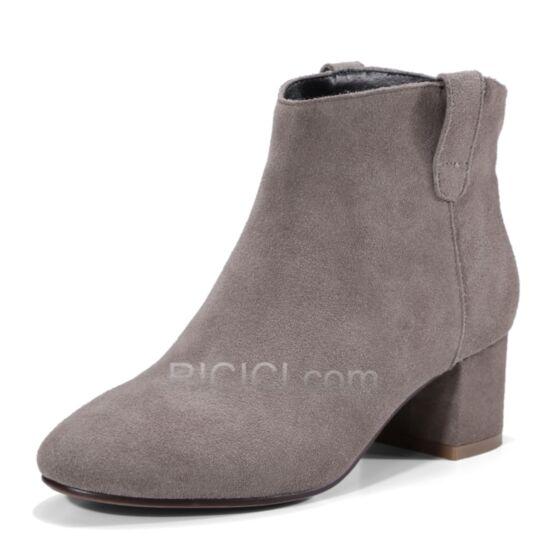 Cuir Chaussure Bottes Grise Fourrées Bottines 5 cm / 2 inch Talons Carrés