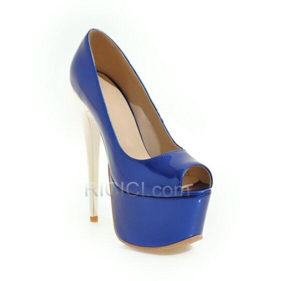 Plateforme Plus de 13 cm Chaussure De Bal Talon Haut Talons Aiguilles Bout Ouvert Escarpins Classique Bleu Roi