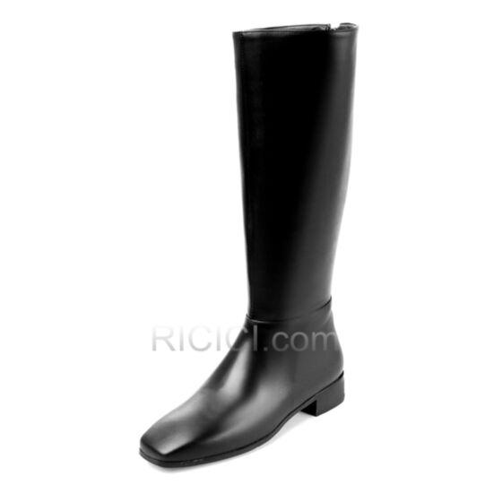 Plates Chaussures Bottes Femme 2018 Fourrées Jambe large Noir D hiver