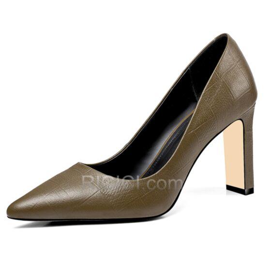 Bout Pointu Talon Haut 8 cm Cuir Talon Aiguille Vert Olive Escarpins Chaussures Travail