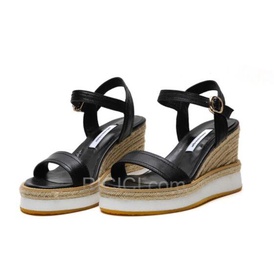 Plateforme Sandale Compensées Talon Haut Noir Confort Tressées D été