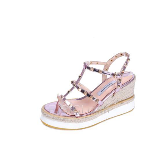 Chaussures Espadrille Compensées Plateforme Rose Clair 8 cm Talons Hauts Sexy 2019 Sandale Spartiate Tressées