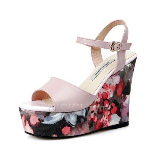 Rose Clair Bride Cheville 2018 13 cm / 5 inch Compensées Chaussure Femme Cuir Fleurie Haut Talon Plateforme Robe Bohème Sandales