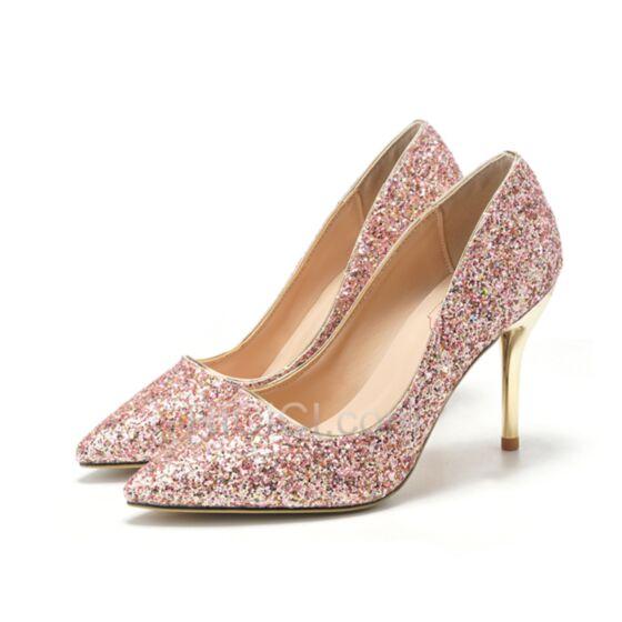 Escarpins Bout Pointu Or Rose Chaussure De Soirée Brillante Chaussure Mariage Talons Hauts Talon Aiguille Glitter