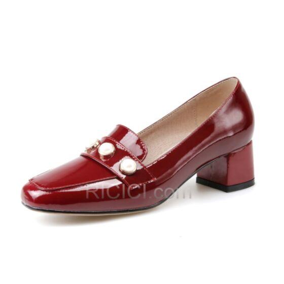 Loafers Talon Carrés Rond Petit Talon Chaussures Travail