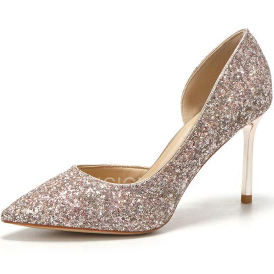Paillette Bout Pointu Chaussure De Soirée 8 cm Talon Haut Chaussure De Mariée Escarpins Talons Aiguilles Or Rose