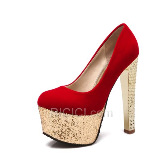Glitter Plus de 13 cm Plateforme Chaussure De Soirée Suède Bout Rond Scintillante Rouge Talons Hauts Escarpins