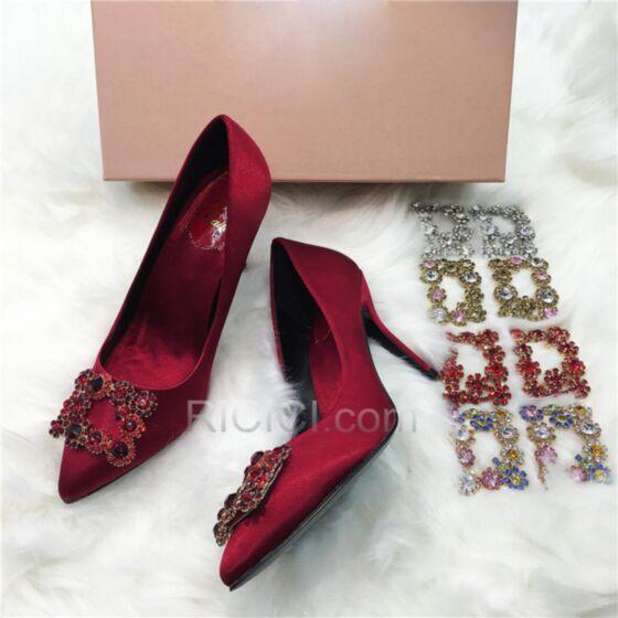 Cristal Satin Chaussure Mariage Talon Aiguille Bout Pointu Classique Talons Hauts Strass Bordeaux Chaussure Demoiselle D honneur Escarpins