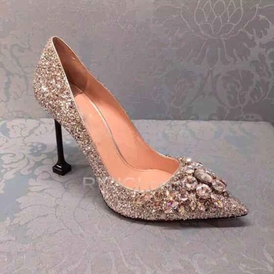 Sequin Bout Pointu 8 cm Talon Haut Argenté Chaussure De Soirée Talon Carrés Scintillante Chaussure De Mariée Escarpins