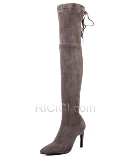High Heel Fur Lined Pointed Toe Stilettos Stretch Over Knee Boots 2018 Womens Boot Suede