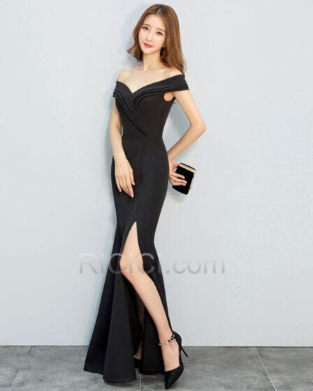 Fendue Longue Sirène Simple Noir Plissée Epaule Dénudée Robe De Soirée Dos Nu Élégant