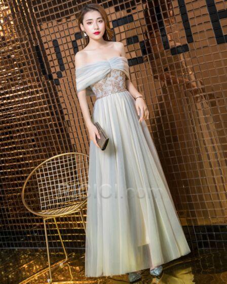 2019 Appliques Robe Demoiselle D honneur Vert Cendré Dos Nu Simple Longue