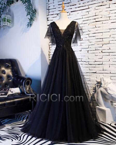 Élégant Noire Décolleté Princesse Robes De Soirée Dos Nu Dentelle Robes De Bal