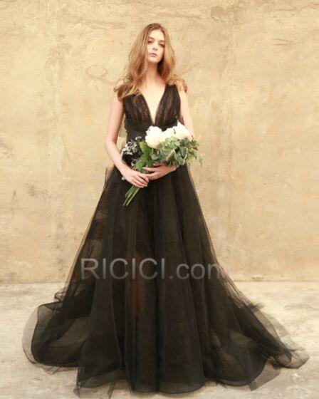 Sexy Longue Simple Noir Décolleté Transparente Tulle Robe De Bal Princesse Dos Nu