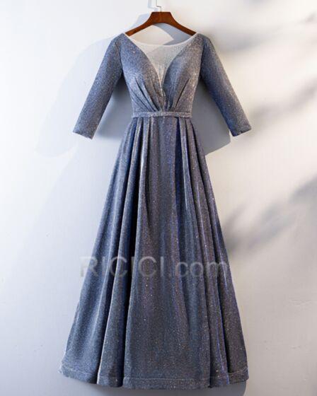 Robe De Bal Princesse Robe De Ceremonie Demi Manche Bleu Nuit Décolleté Glitter
