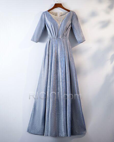 Demi Manche Bleu Clair Robe De Soirée Strass Glitter Scintillante Princesse Robes De Bal