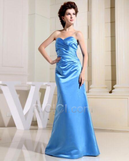 Bleu Ciel Satin Bustier Encolure Coeur Dos Nu Plissée Élégant Simple Longue Robes De Bal Printemps