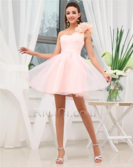 Encolure Coeur Évasée Robe Confirmation Rose Pale À Volants Simple Chic Courte