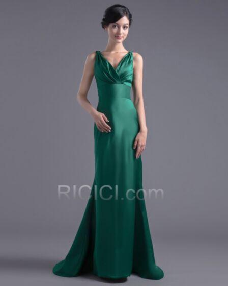 Simple Décolleté Volantée Dos Nu Robes De Soirée Demoiselle D honneur Vert Foncé Sirène Longue Satin
