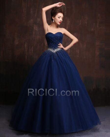 Robe De Ceremonie Quinceanera De Bal Bleu Roi Bustier Encolure Coeur Longue Belle Tulle Sans Manches Plissée Élégant Vintage