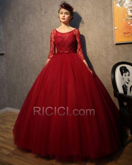 Demi Manche Perlage Vintage Belle Tulle Robes Quinceanera De Bal Longue