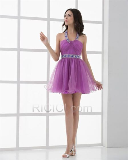 Lilas Robe Cocktail Confirmation Licou Patineuse Tulle Courte Sexy Chic