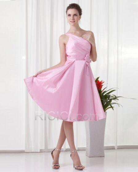 Simple Satin Robe Invite De Mariage Demoiselle D honneur Volantée Dos Nu 3D Fleur Sans Manches Une Épaule Rose Clair