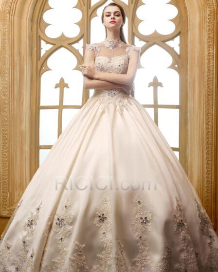 Robe De Mariage Tulle Dentelle Luxe Élégant Col Haut Dos Nu Cristal Sans Manches Longue Belle Évasée