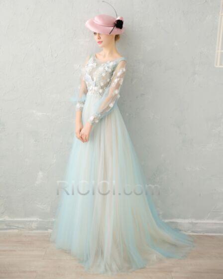 Luxe Sexy Manche Longue Bleu Clair Tulle En Dentelle Dos Nu Robe De Ceremonie De Bal Avec La Queue Princesse