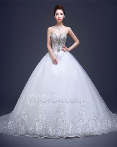 Princesse Robe De Mariée Tulle Dos Nu Cristal Sans Manches Blanche Longue Avec La Queue Bustier Luxe Scintillantes Élégant