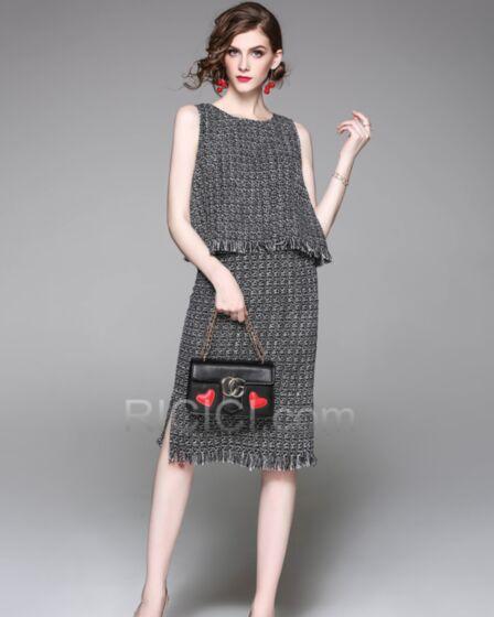 Noir Vêtements Bureau Casual Sans Manches Peplum Gland Top et Jupe Fluide Pull En Lin Simple Midi