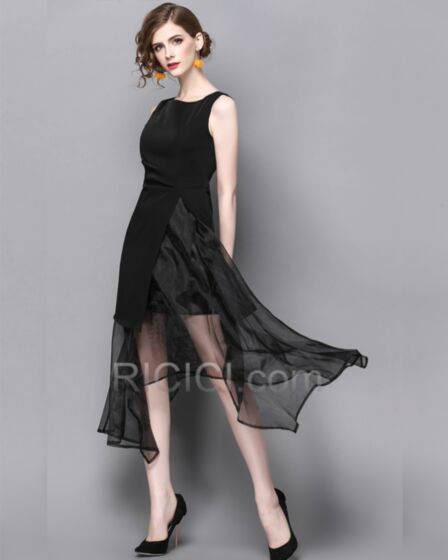 Polyester Organza Fluide Simple Sans Manches Robes Bureau Casual Noir