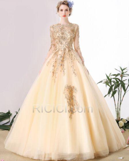 Princesse Manche Longue Scintillantes Luxe Robe De Mariée Sequin Perlage Dos Nu Champagne