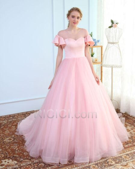 Tulle Satin Robe De Quinceanera De Bal Rose Pale Originale Belle Longue Avec La Queue À Volants Dos Nu