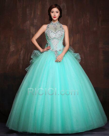 Robe De Bal Quinceanera Scintillantes Luxe Belle Dos Nu Noeud Encolure Coeur Col Haut Turquoise Tulle