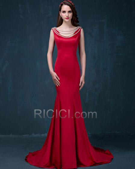 Sirène Droite Perlage Dos Nu Élégant Simple Rouge Robes De Soirée Gala Satin