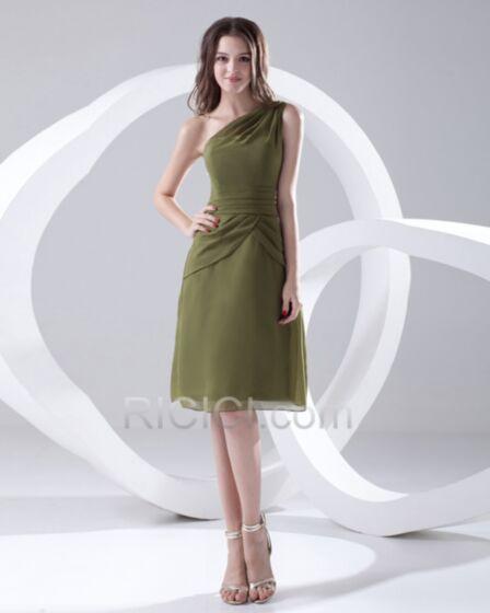 Vert Olive Simple Ete Une Épaule Volantée Longueur Genou Princesse Dos Nu Mousseline Sans Manches