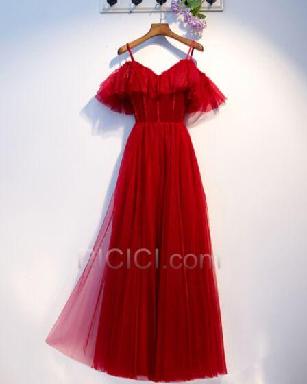 Bretelles Fines Robe De Ceremonie Robe Soirée Epaule Dénudée Empire Tulle Robe Demoiselle D'honneur Epaule Nu Rouge