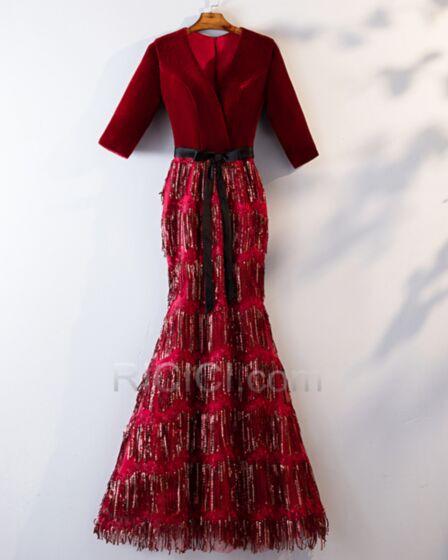 Modeste Robe Mère De Mariée 2019 Sequin Velours Élégant Robe De Ceremonie À Frange Bordeaux