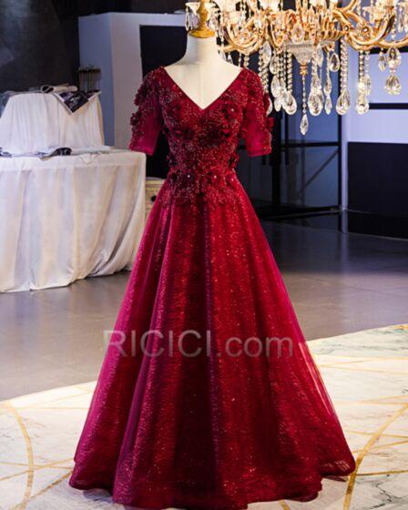 Bordeaux Robe Soirée Décolleté Dentelle Princesse Glitter Brillante Robe De Demoiselle D honneur Longue Robe De Bal