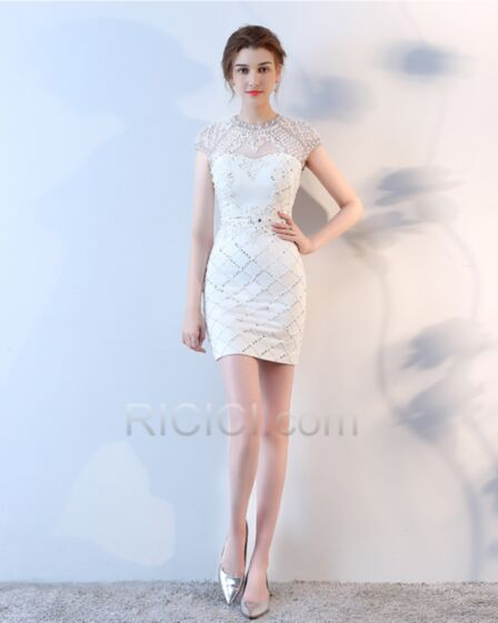 Dos Nu Courte Tulle Transparente Robe Cocktail Perlage 2018 Luxe Fourreau Blanche Robe Confirmation