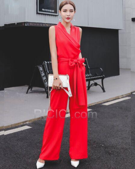Combinaison Printemps Simple Maxi Ceinture Portefeuille 2019 Travail Blanche Pantalon Large Pantalon Taille Haute